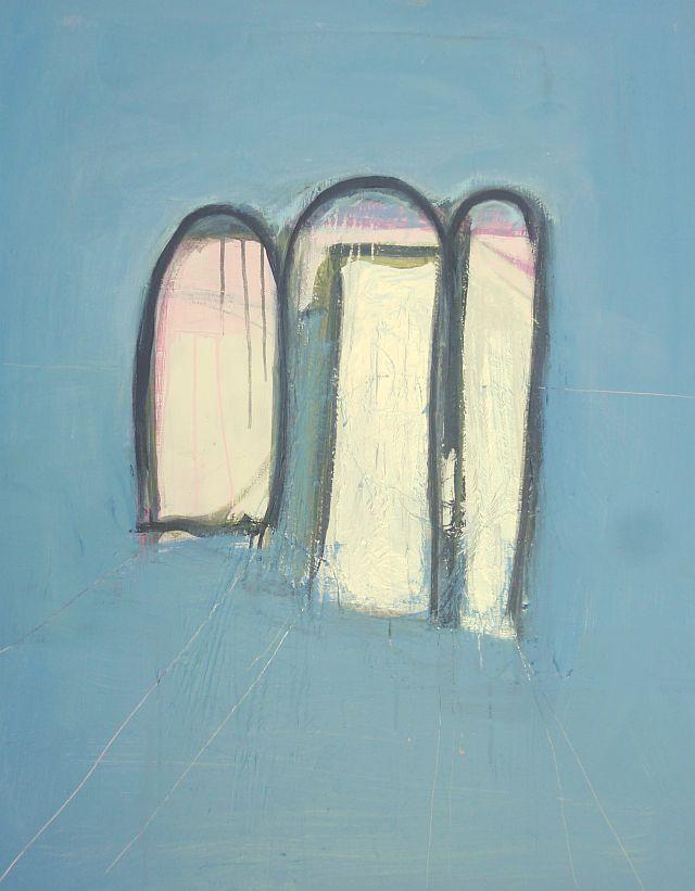 Kom nu met lofzang zijn poorten binnen. 80 x 100 gemengde techniek. Rita Koolstra