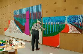 David Hockney aan het werk, bron internet, artikel: Rita Koolstra
