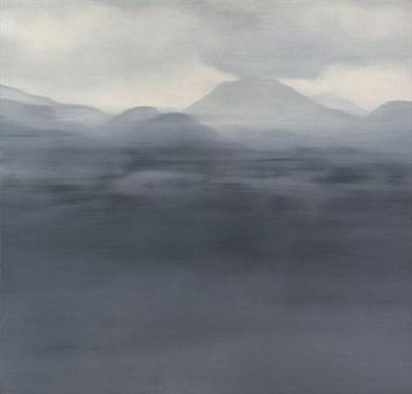 Vaag berglandschap in lagen, Gerhard Richter