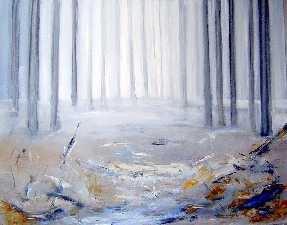 Bos in nevelen, olieverf. 80 x 100 cm in baklijst, Kunstenaar Rita Koolstra