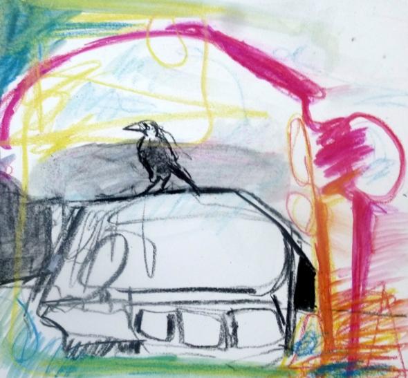 Een eenzame vogel op het dak, krijt houtskool, Rita Koolstra, 2013