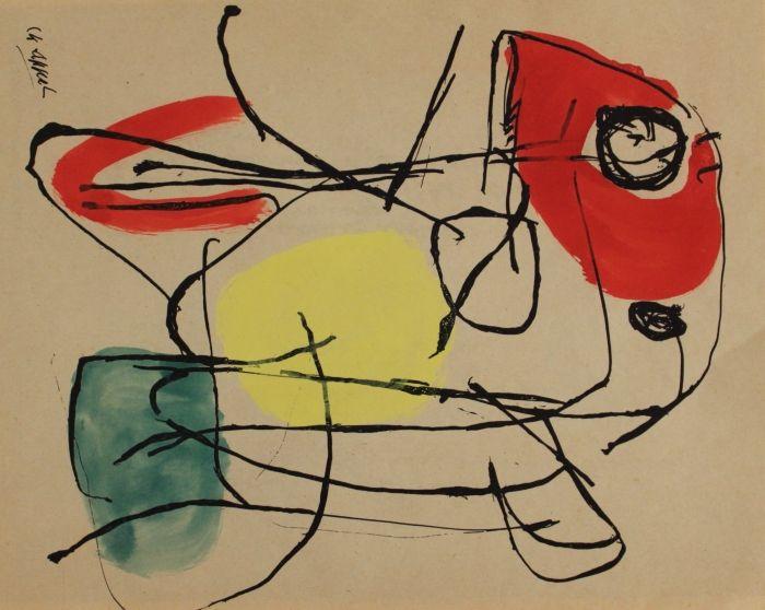Mooi rustig schilderij/tekening door Karel Appel.