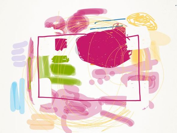 iPad-kunst, roze pop abstract door Rita Koolstra