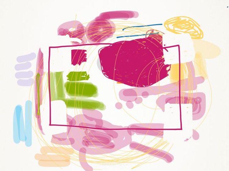 iPad-kunst, roze pop abstract door Rita Koolstra