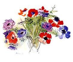 vrij geschilderde bloemen door Raoul Dufy