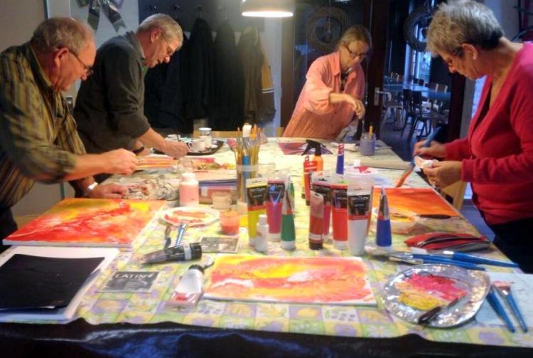 vrij schilderen met twee kleuren